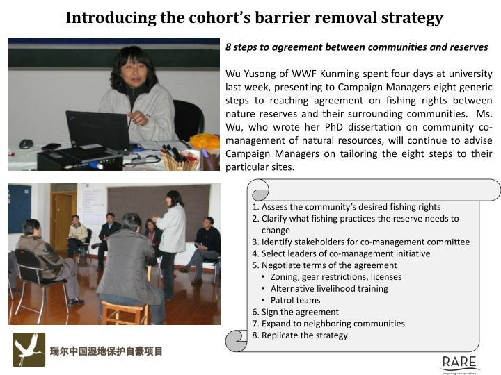 Introducing the cohort's barrier removal strategy