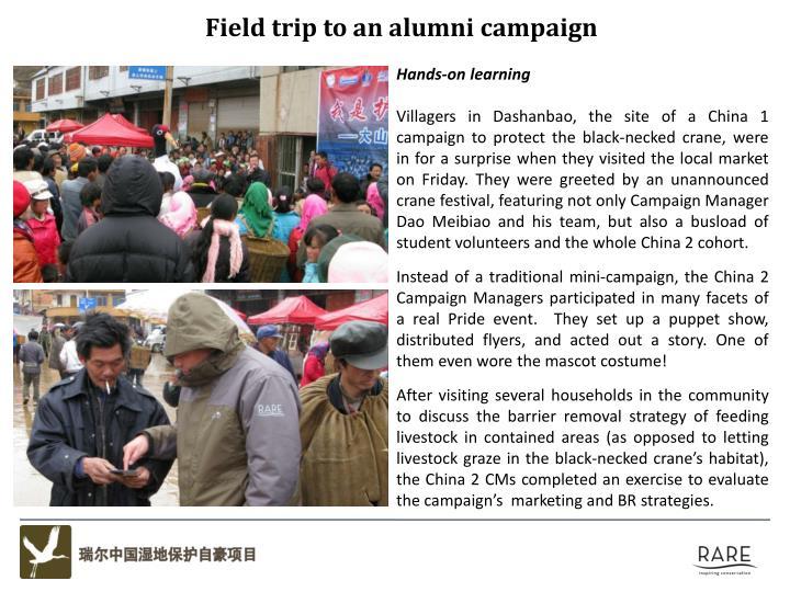 Field trip to an alumni campaign