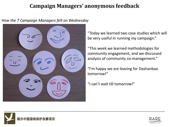 Campaign Managers' anonymous feedback