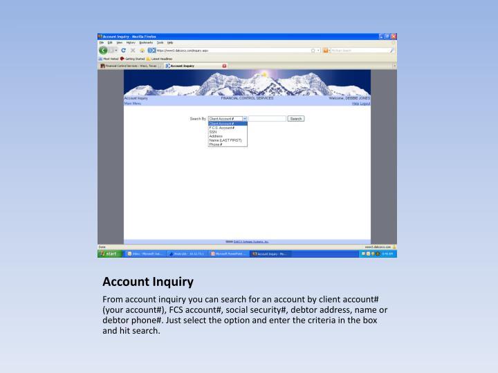 Account Inquiry