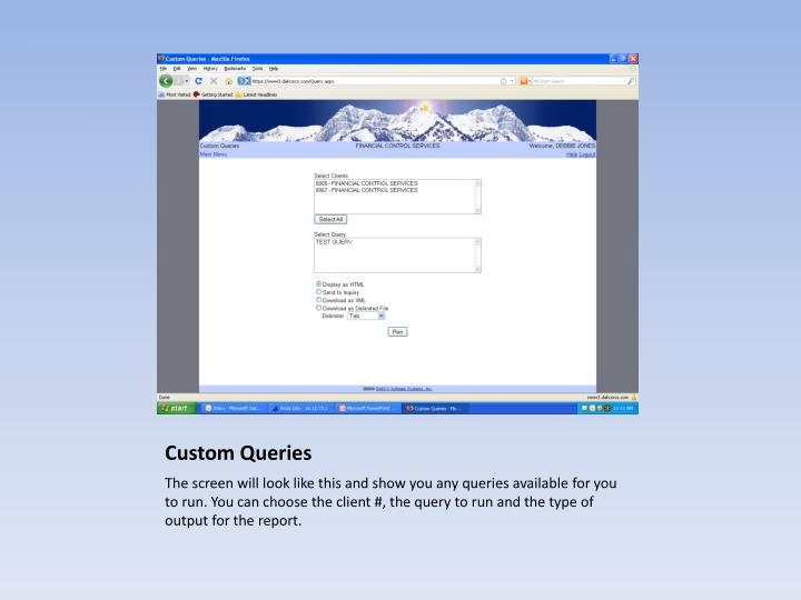 Custom Queries
