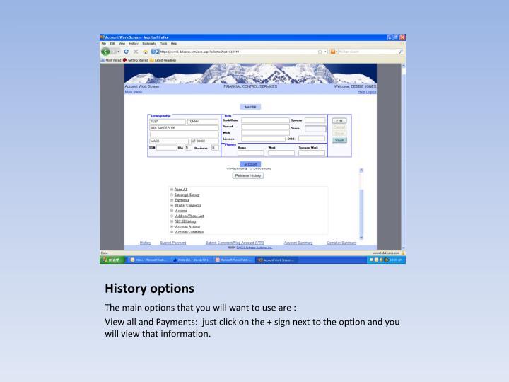 History options