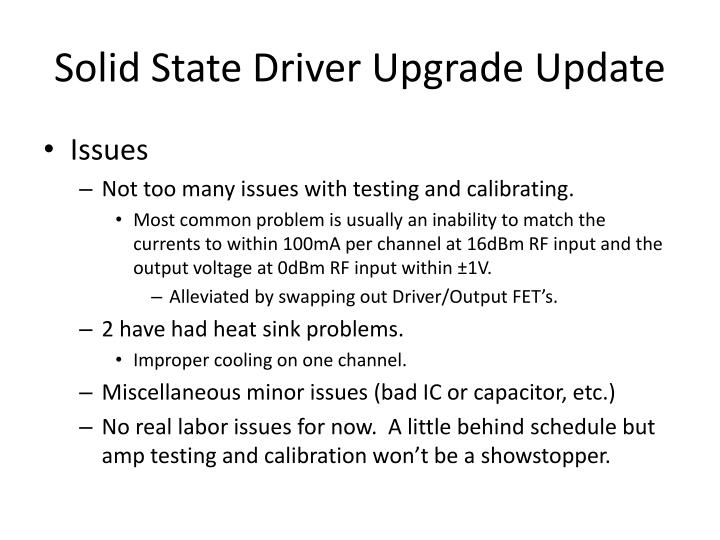 Solid State Driver Upgrade Update