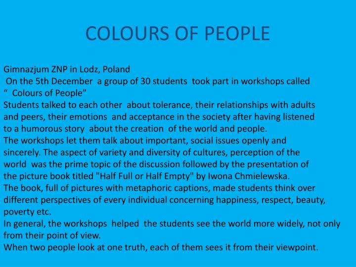 COLOURS OF PEOPLE