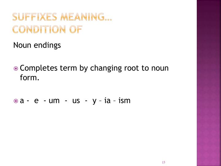 Suffixes meaning…