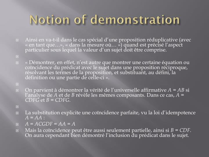 Notion of demonstration