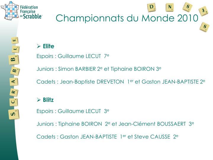 Championnats du Monde 2010