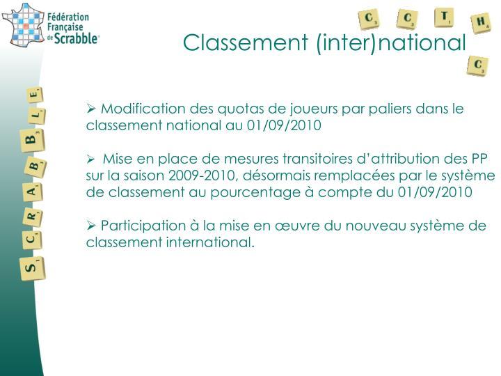 Classement (inter)national