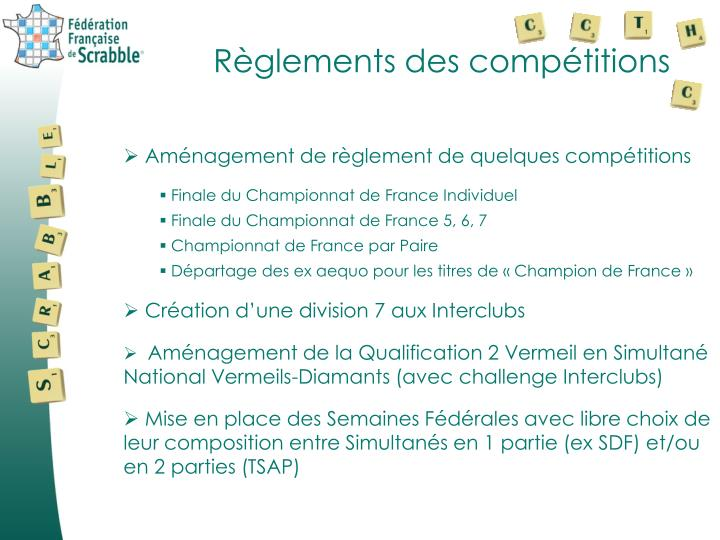 Règlements des compétitions
