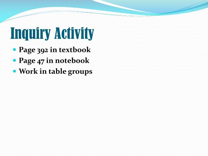 Inquiry activity
