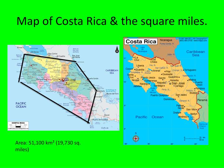 Map of costa rica the square miles