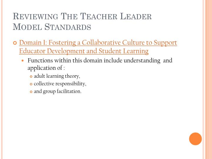 Reviewing The Teacher Leader Model Standards