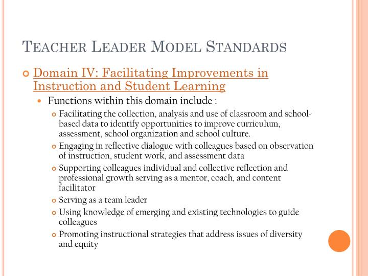 Teacher Leader Model Standards