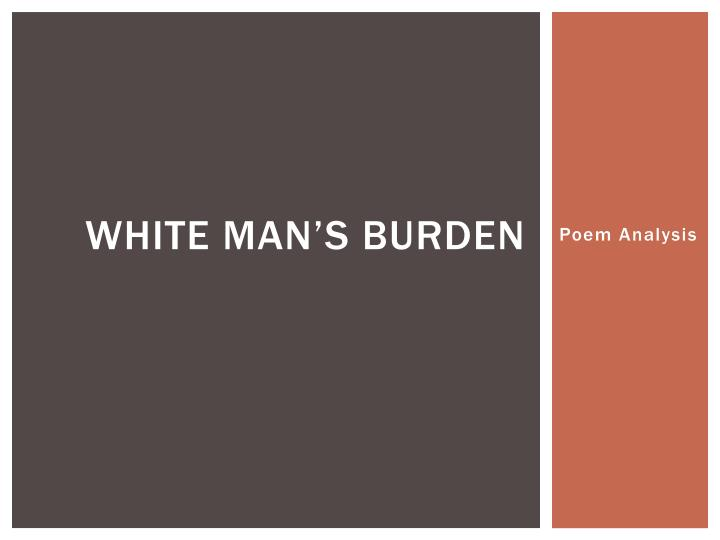 White man s burden