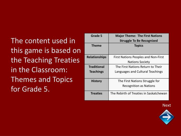 The content used in this game is based on the Teaching Treaties in the Classroom:  Themes and Topics...