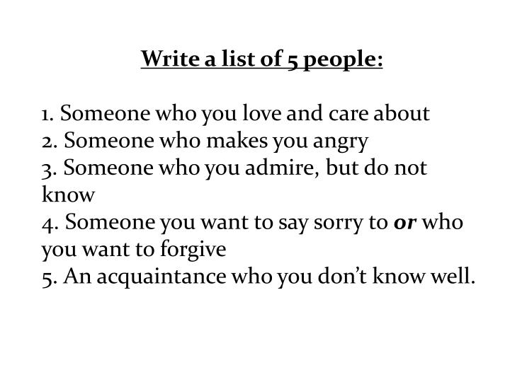 Write a list of 5 people