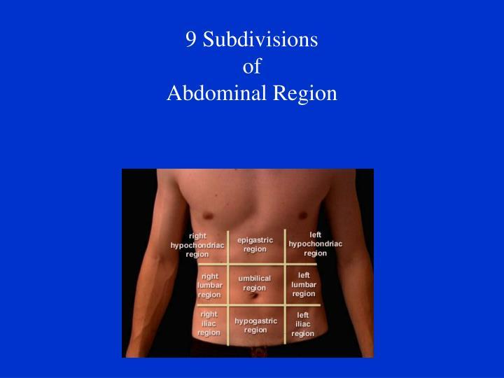 9 Subdivisions