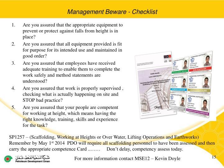 Management Beware - Checklist