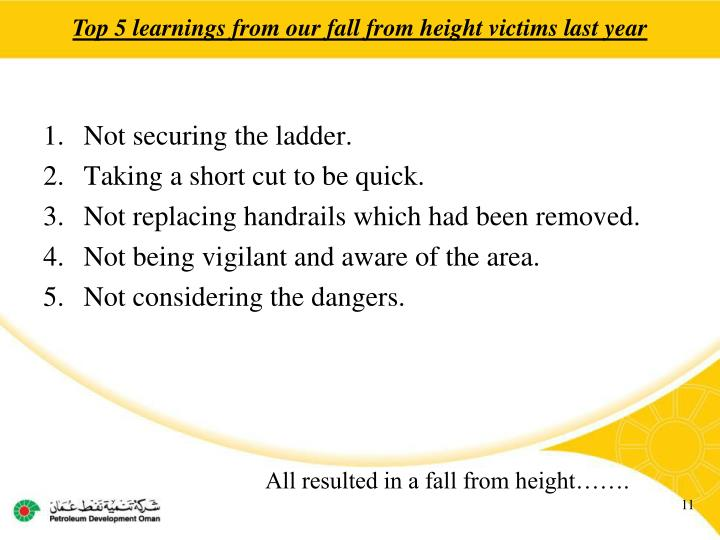 Top 5 learnings from our fall from height victims last year