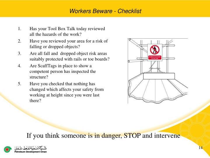 Workers Beware - Checklist