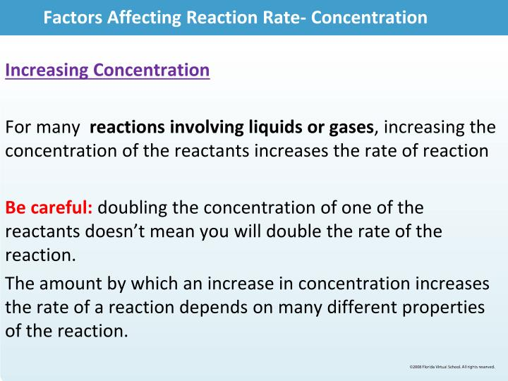 Factors Affecting Reaction Rate- Concentration