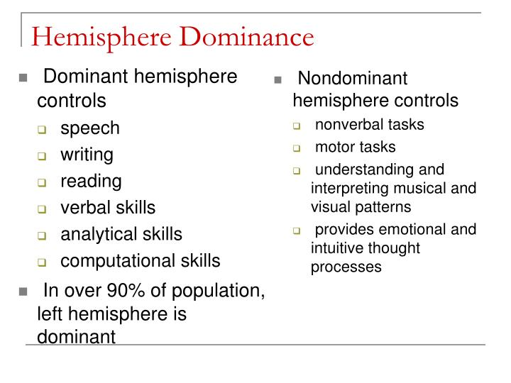 Dominant hemisphere controls