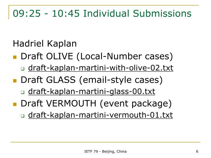 09:25 - 10:45 Individual Submissions