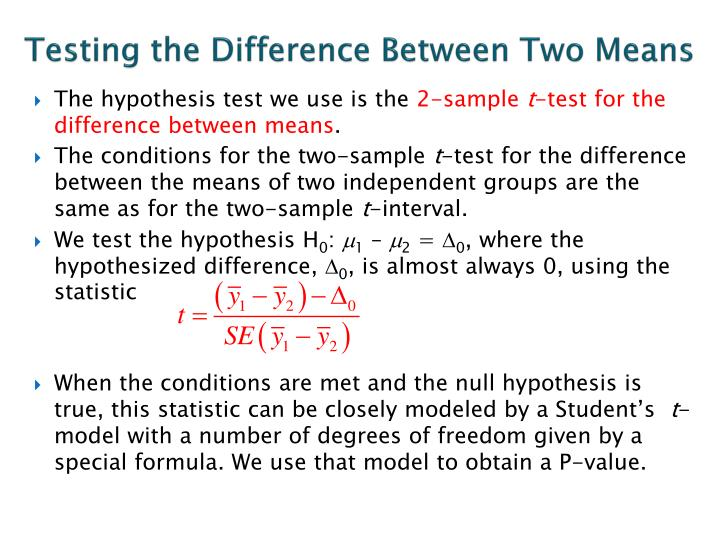 Testing the Difference Between Two Means