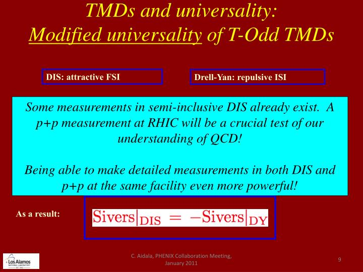 TMDs and universality: