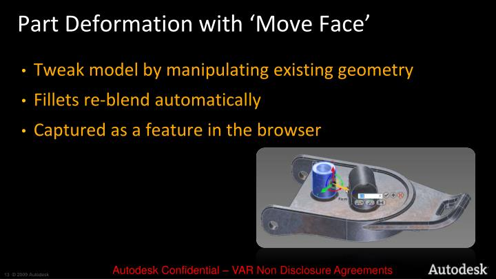 Part Deformation with 'Move Face'