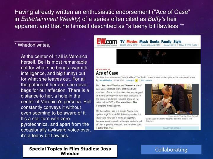 "Having already written an enthusiastic endorsement (""Ace of Case"" in"