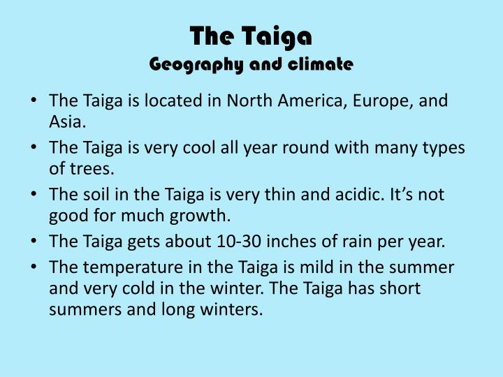 The taiga geography and climate
