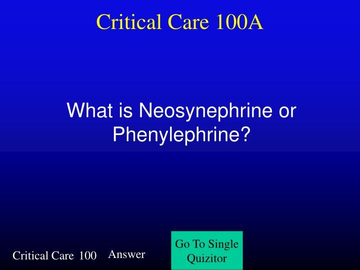 Critical Care 100A