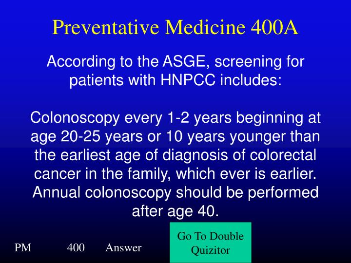 Preventative Medicine 400A