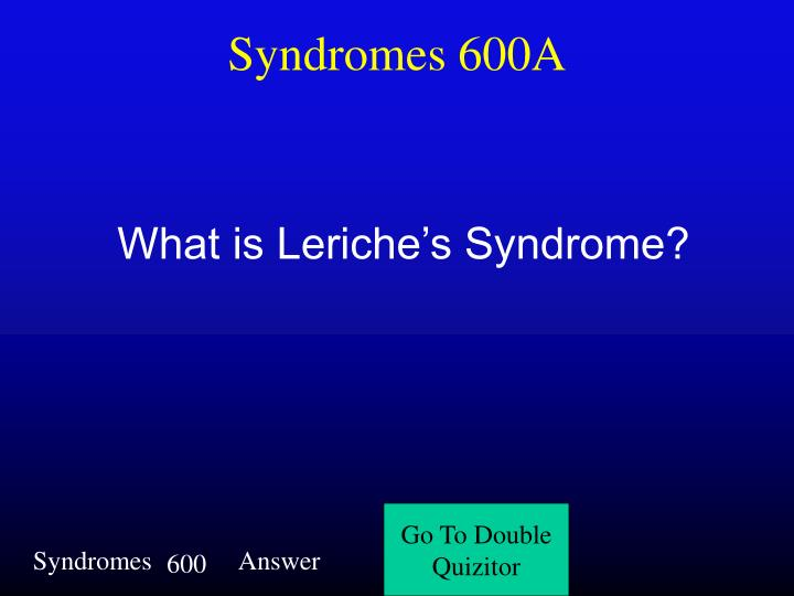 Syndromes 600A