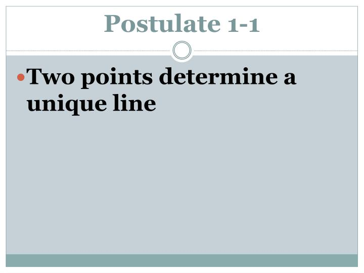 Postulate 1-1