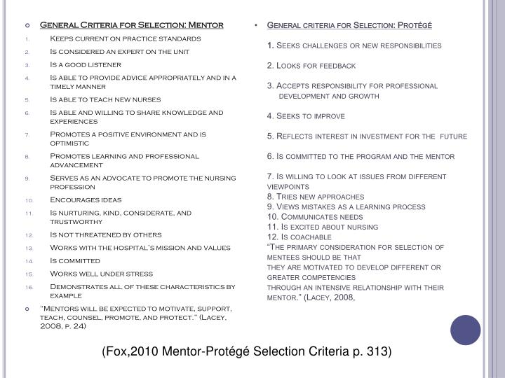 General criteria for Selection: Protégé