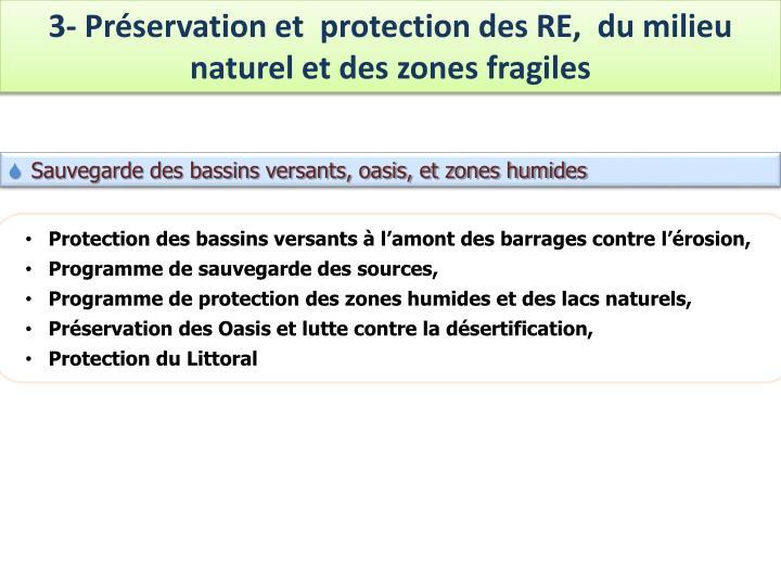 3- Préservation et  protection des RE,  du milieu naturel et des zones fragiles