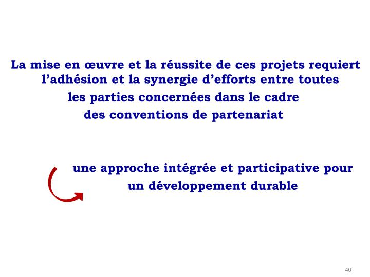 La mise en œuvre et la réussite de ces projets requiert l'adhésion et la synergie d'efforts entre toutes