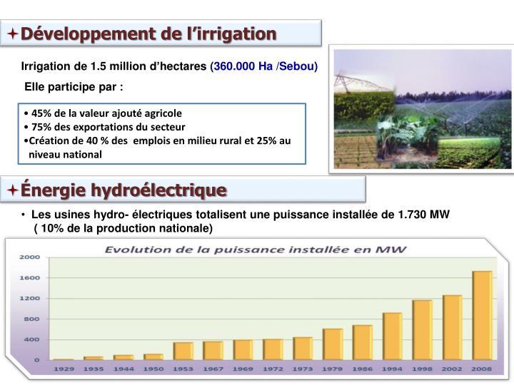 Développement de l'irrigation