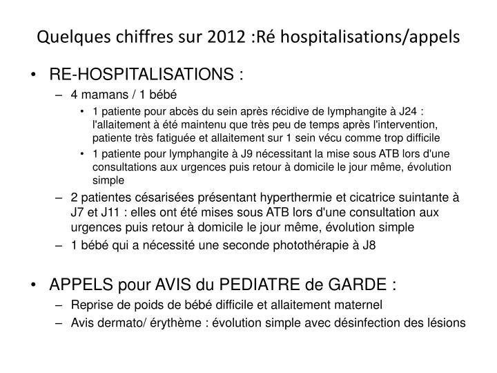 Quelques chiffres sur 2012 :Ré hospitalisations/appels