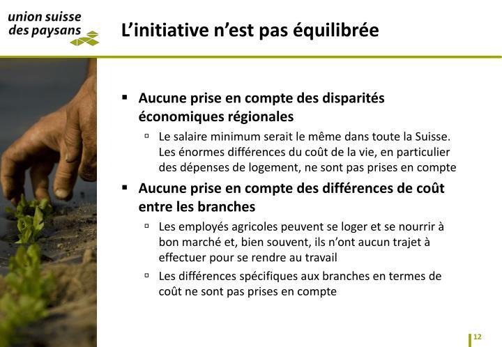 Aucune prise en compte des disparités économiques régionales