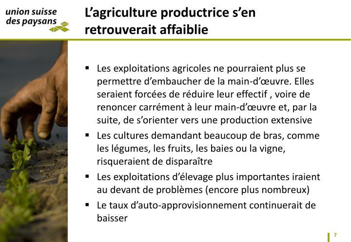 Les exploitations agricoles ne pourraient plus se permettre d'embaucher de la main-d'œuvre. Elles seraient forcées de réduire leur effectif
