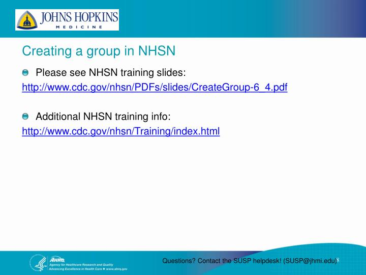 Creating a group in NHSN