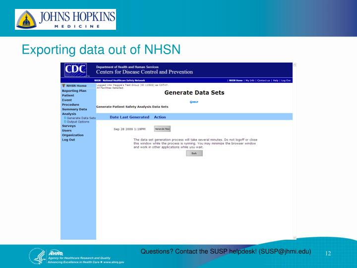 Exporting data out of NHSN