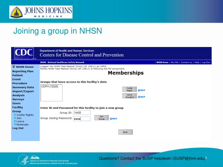 Joining a group in NHSN