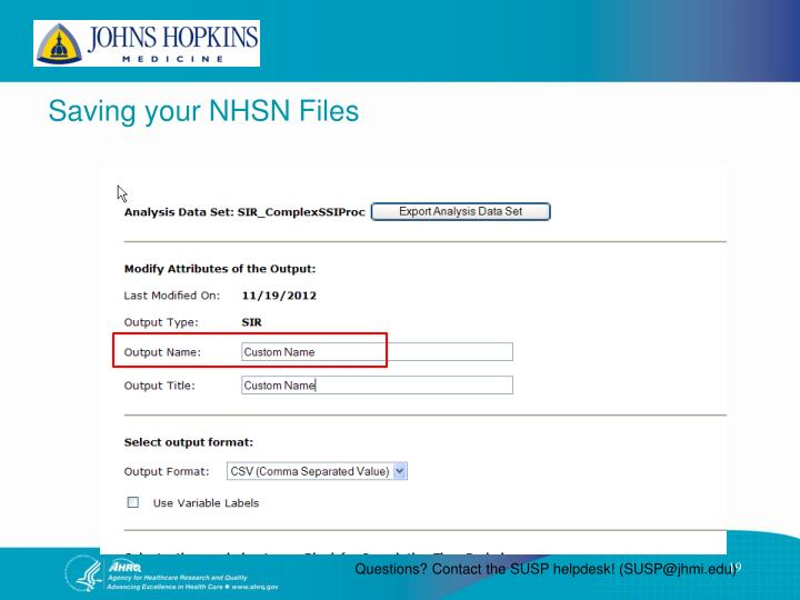 Saving your NHSN Files