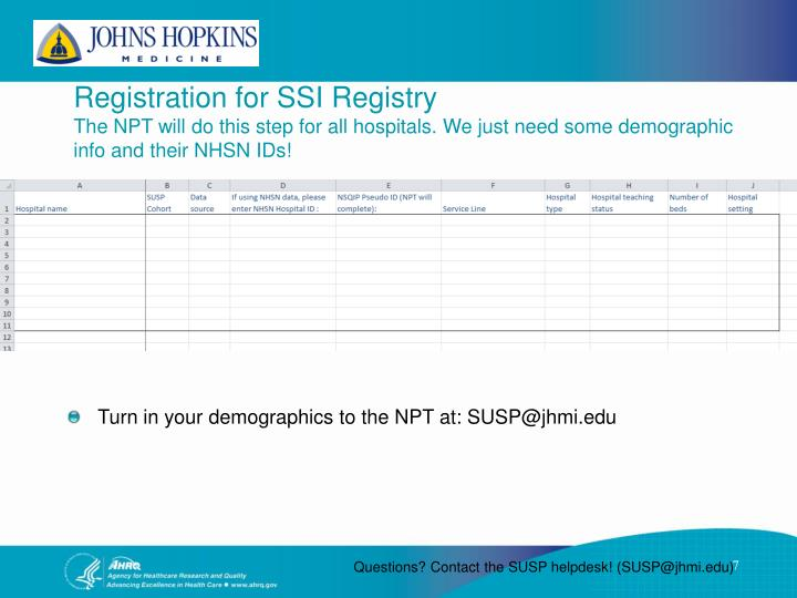 Registration for SSI
