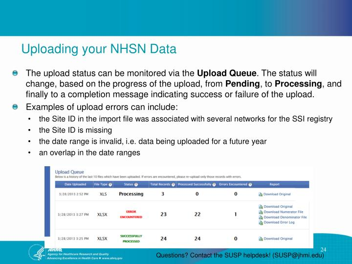 Uploading your NHSN Data