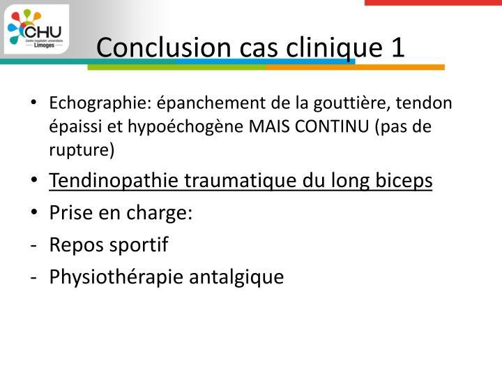 Conclusion cas clinique 1
